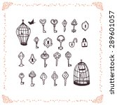 set of hand drawn doodle keys | Shutterstock .eps vector #289601057