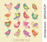 Cute Birds In Vector. Cartoon...
