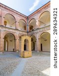 Small photo of The courtyard with center shaft of The Praetor Palace represents Italian Renaissance architecture with stone and brick and it is bordered by triportico with two orders, Doric and Ionic, columns.