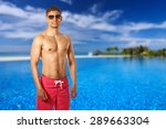 man at swimming pool in the... | Shutterstock . vector #289663304