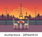 View Of Vector Evening Paris...