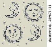 set moon and sun character hand ... | Shutterstock .eps vector #289675481