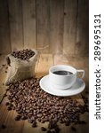 cup of black coffee and coffee...   Shutterstock . vector #289695131