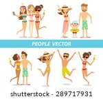 people relaxing at the beach | Shutterstock .eps vector #289717931