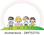 kids holing hand with blank... | Shutterstock .eps vector #289752731