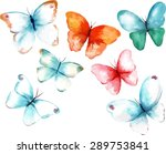 Stock vector a collection of watercolour butterflies scalable vector drawings 289753841