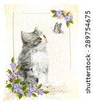 vintage postcard with kitten. ... | Shutterstock . vector #289754675