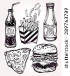 fast food set vintage linear... | Shutterstock .eps vector #289763789