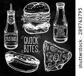 fast food set vintage linear... | Shutterstock .eps vector #289763795