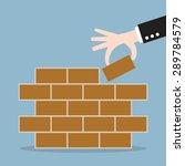 hand of businessman lay bricks  ... | Shutterstock .eps vector #289784579
