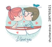 cute couple kissing sitting... | Shutterstock .eps vector #289785821