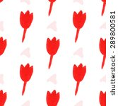 seamless pattern  red flowers.... | Shutterstock .eps vector #289800581