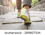 Woman Walking On Trail Outdoor...