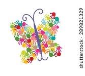 butterfly hand prints vector... | Shutterstock .eps vector #289821329