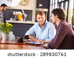 two men meeting at a coffee shop | Shutterstock . vector #289830761