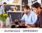 two men meeting at a coffee shop | Shutterstock . vector #289830845