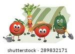 set of  cartoon vegetables with ... | Shutterstock .eps vector #289832171