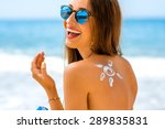 young woman with sun shape on... | Shutterstock . vector #289835831
