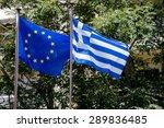 European Union Flag And Greek...