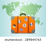 travel suitcase with stickers... | Shutterstock .eps vector #289844765