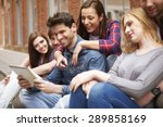 group of people sitting on the... | Shutterstock . vector #289858169