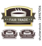Fair trade coffee label sticker for use on product packaging, print materials, websites and in advertising and promotion - stock vector