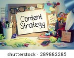 Small photo of Content Strategy / Content marketing concept words on bulletin board in office interior