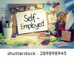 Small photo of Self Employment Concept / Self-employed note on bulletin board in office