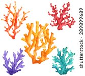 Watercolor Colorful Corals Set...