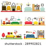 cartoon living rooms with... | Shutterstock .eps vector #289902821