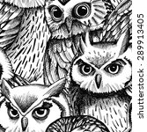 seamless pattern with owls... | Shutterstock .eps vector #289913405