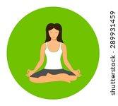woman sitting in yoga lotus... | Shutterstock .eps vector #289931459