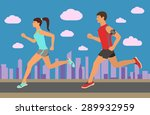 couple jogging outside in the... | Shutterstock .eps vector #289932959