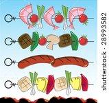 Stylized Retro Barbeque Kebab...