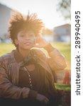 beautiful black curly hair... | Shutterstock . vector #289940495