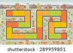 board game with a block path on ... | Shutterstock .eps vector #289959851