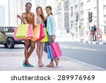 cheerful friends go to the... | Shutterstock . vector #289976969