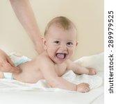 newborn baby getting oil...   Shutterstock . vector #289979525