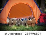four hikers wearing hiking... | Shutterstock . vector #289996874