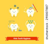 children teeth care and hygiene ... | Shutterstock .eps vector #290007887