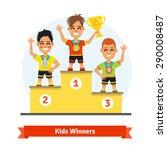kids sport winners standing on...   Shutterstock .eps vector #290008487