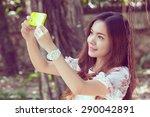 selfie  young girl taken her...   Shutterstock . vector #290042891