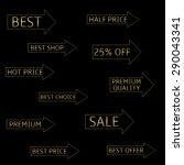 golden arrows with text  best ... | Shutterstock .eps vector #290043341