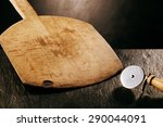 wooden pizza paddle board and... | Shutterstock . vector #290044091
