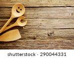 Wooden Cooking Utensils Border...