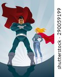 superhero couple  male and... | Shutterstock .eps vector #290059199