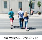 people crossing the street on... | Shutterstock . vector #290061947