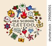 old school tattoo vector... | Shutterstock .eps vector #290063501