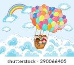 children in the basket floating ... | Shutterstock .eps vector #290066405