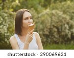 photo of girl  eating ice cream ... | Shutterstock . vector #290069621